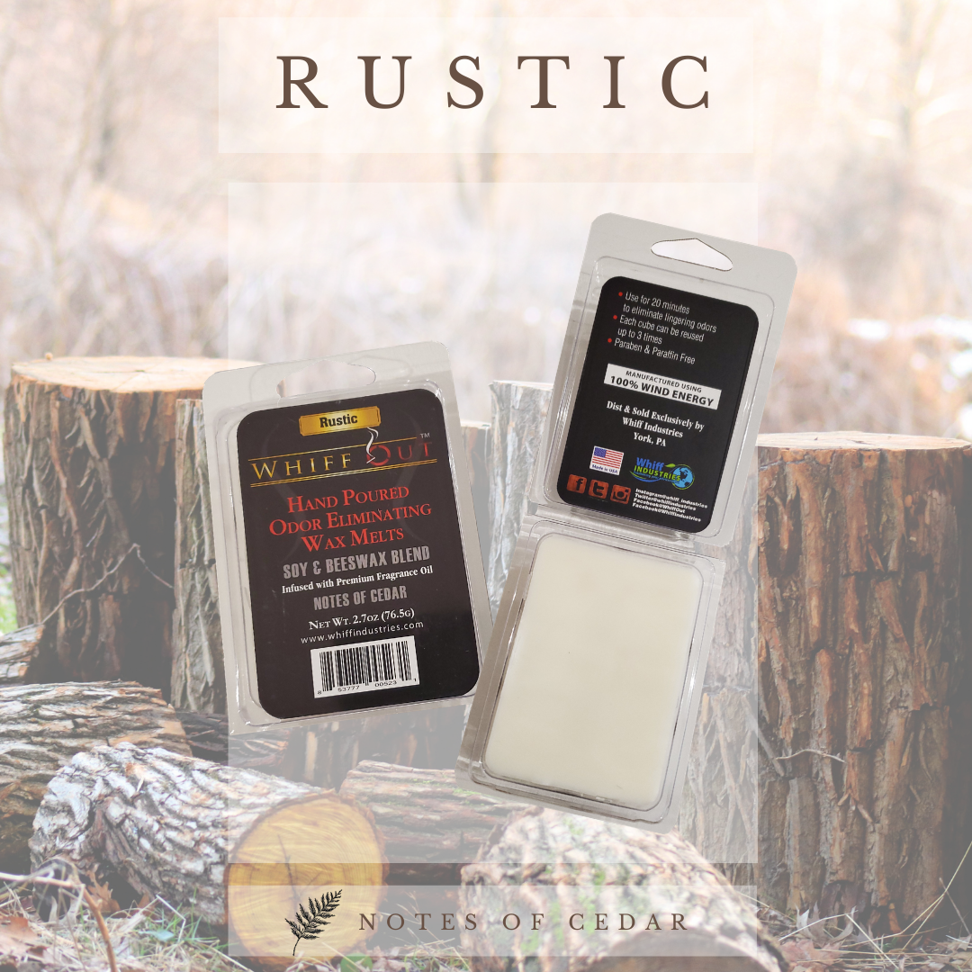 Whiff out odor eliminating wax melt Rustic scent